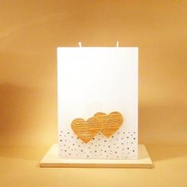 Hochzeitskerze Herz an Herz medium hell