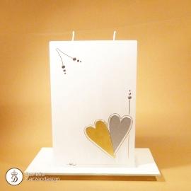 Hochzeitskerze Zwei Herzen