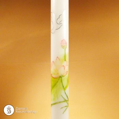 Taufkerze Wasserlilie gemalt